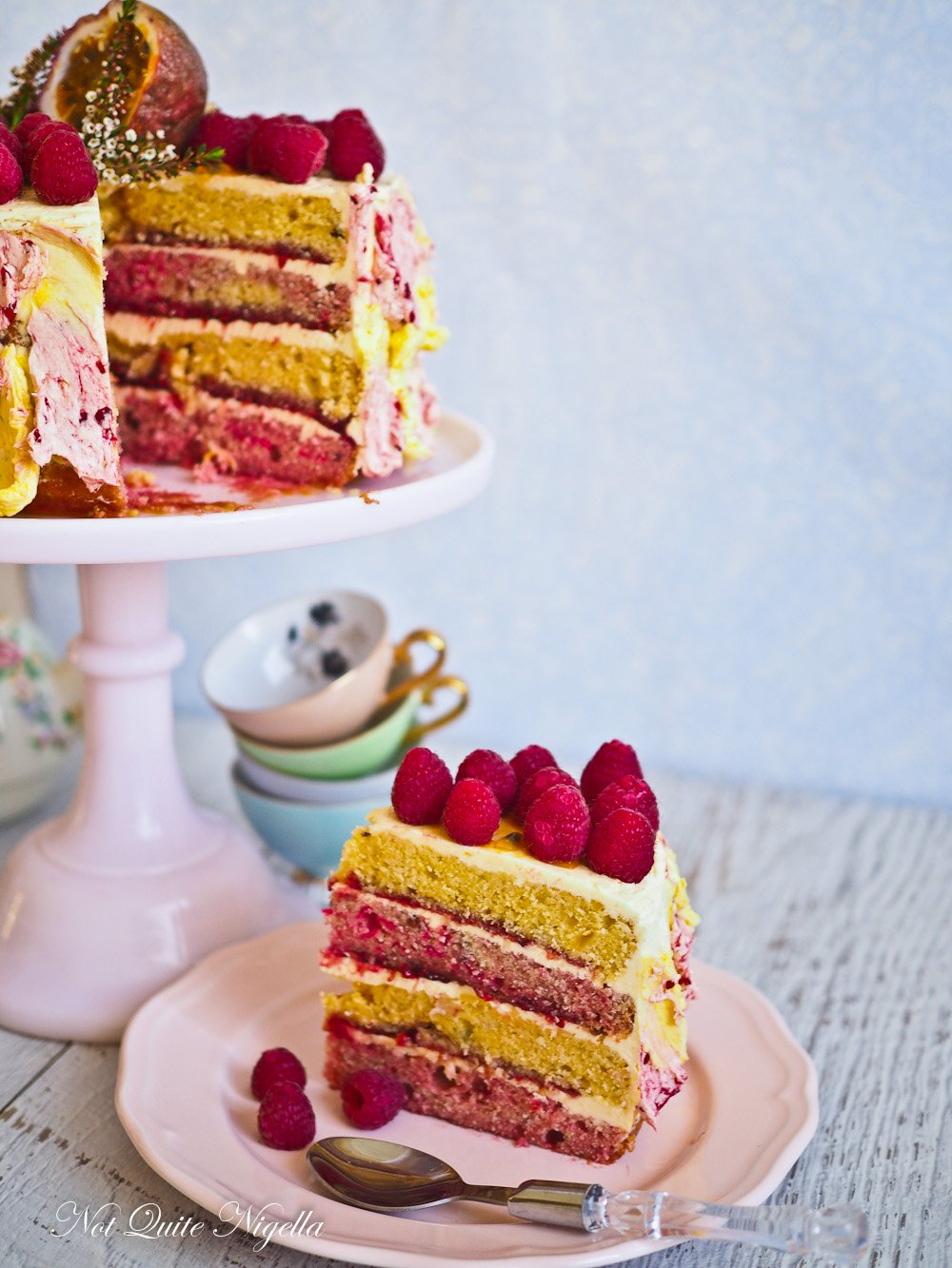 Cake With Fruit Layers : Passionfruit Raspberry Layer Cake @ Not Quite Nigella
