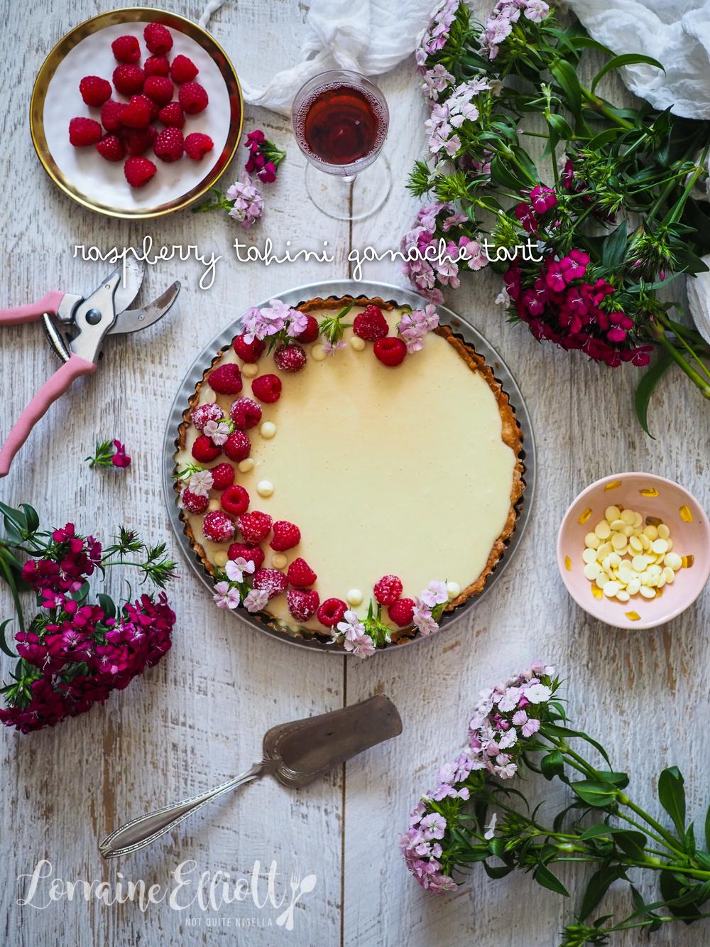 Raspberry Tahini Ganache Tart