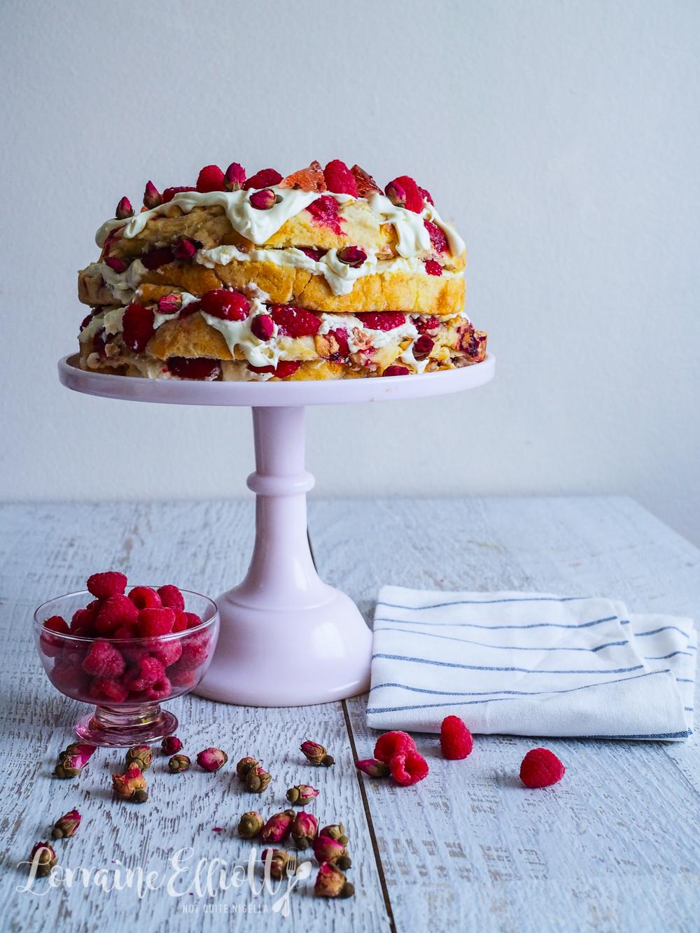 Raspberry & White Chocolate Scone Cake