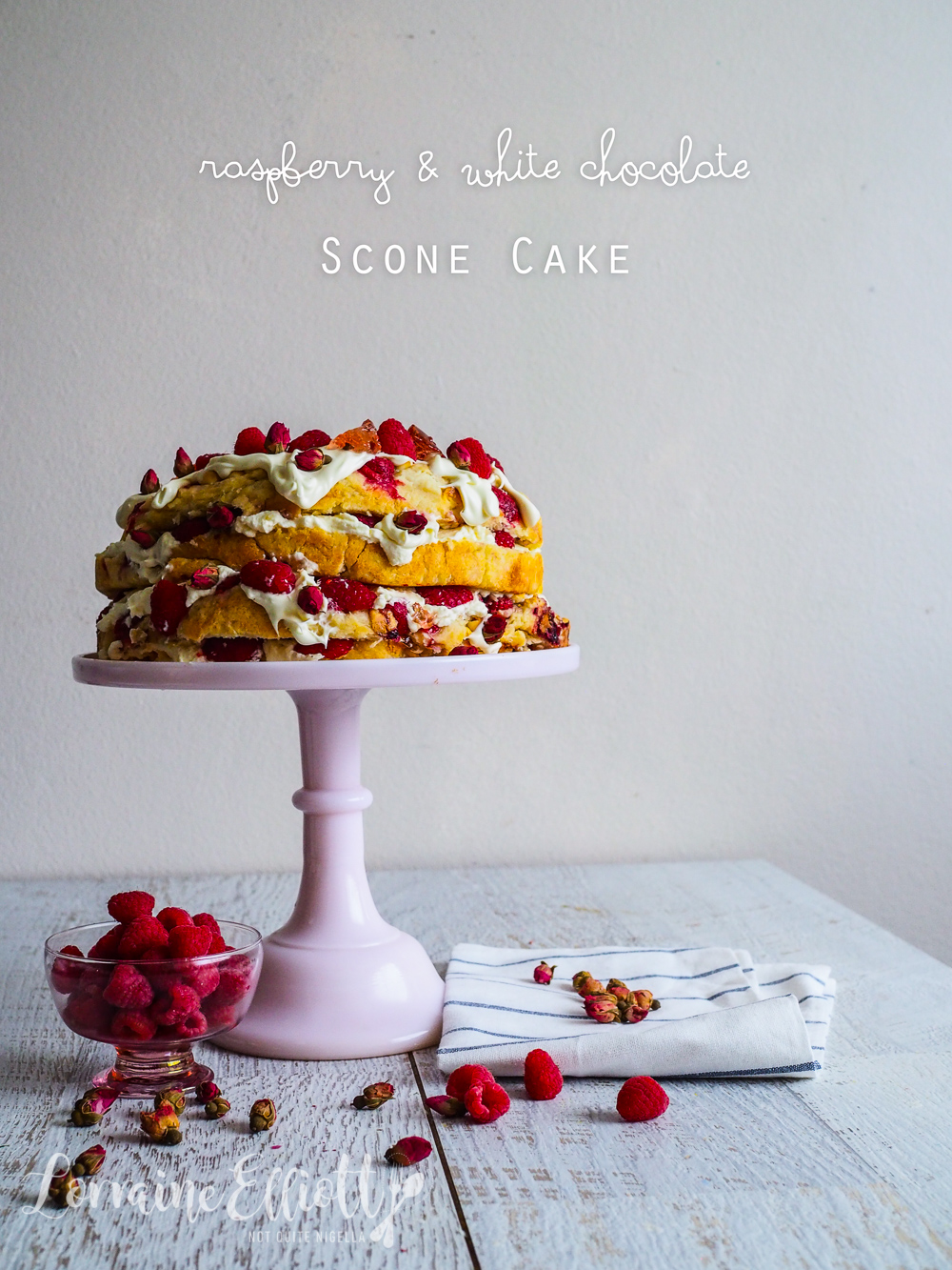 Raspberry & White Chocolate Scone Cake