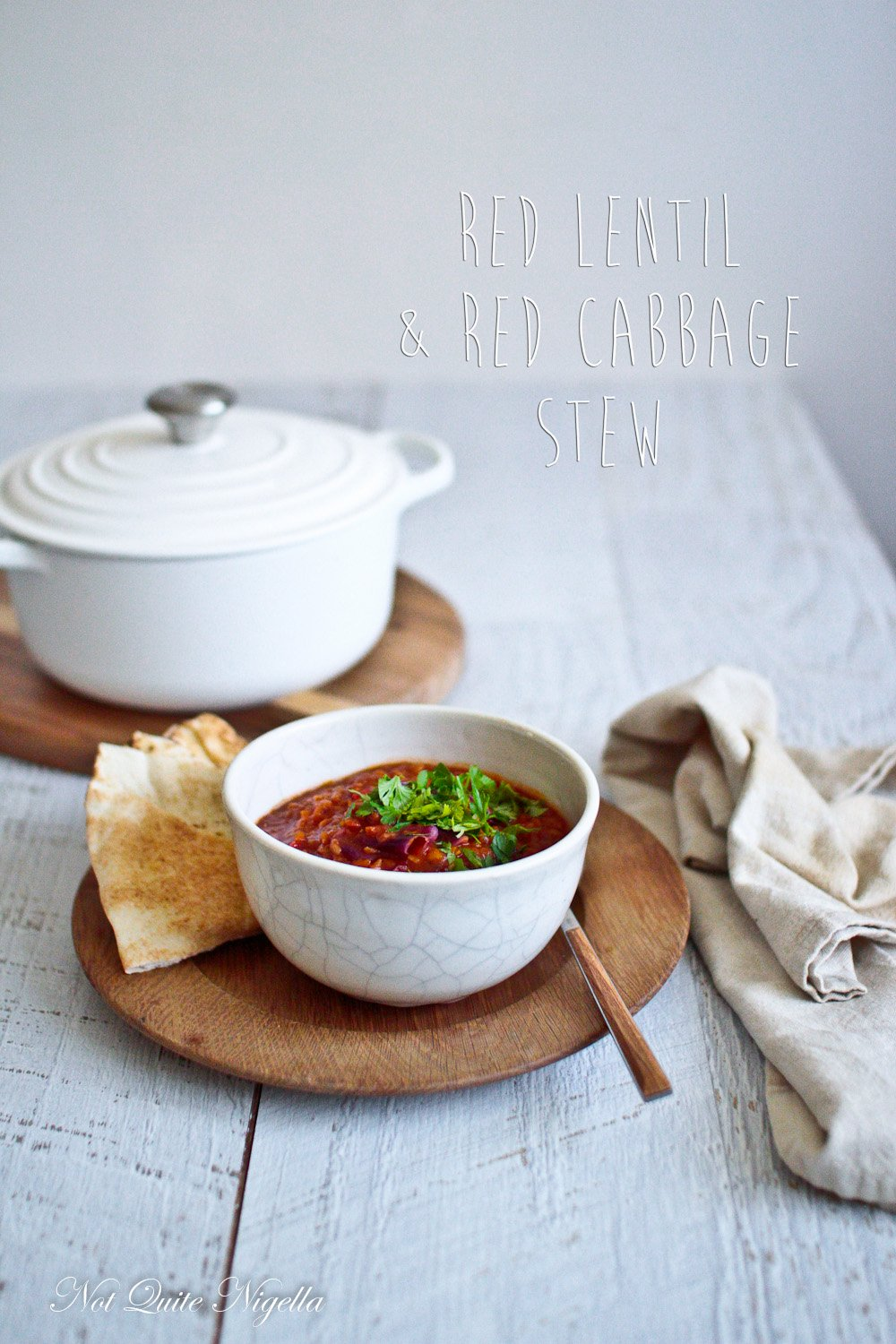 Red Lentil Cabbage Vegetarian Vegan Stew