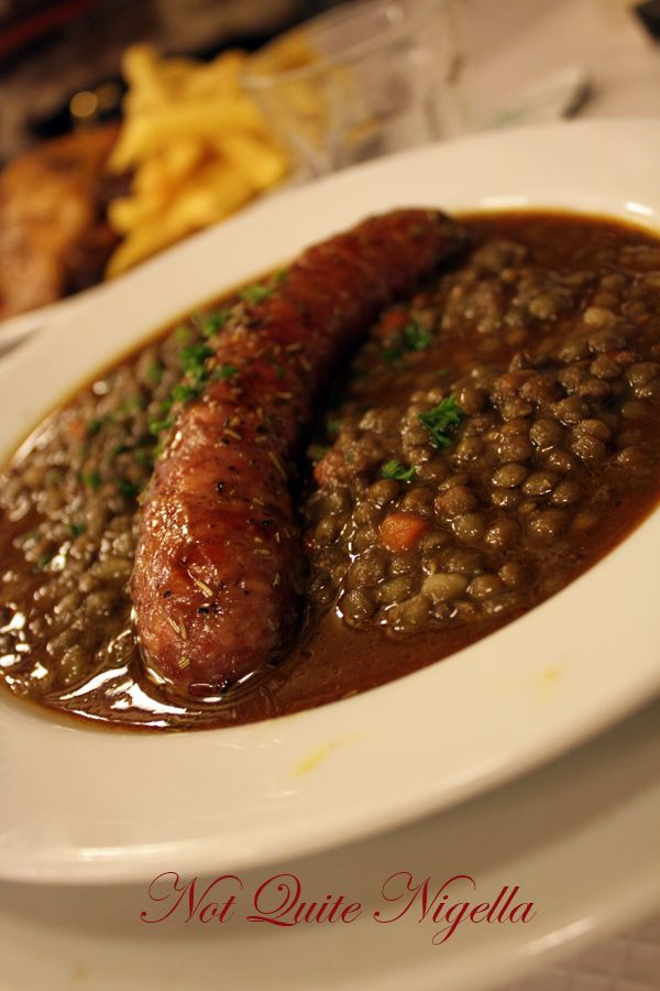 Chartier Paris sausages and lentils