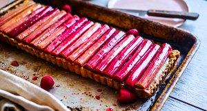 Glossy Rhubarb, Raspberry & Ginger Custard Tart