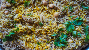 DIVINE Onion, Chickpea Spiced Rice Pilaf