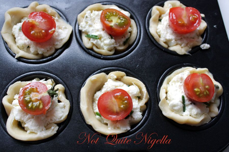 Ricotta, Chive & Tomato mini tarts for morning tea with a friend