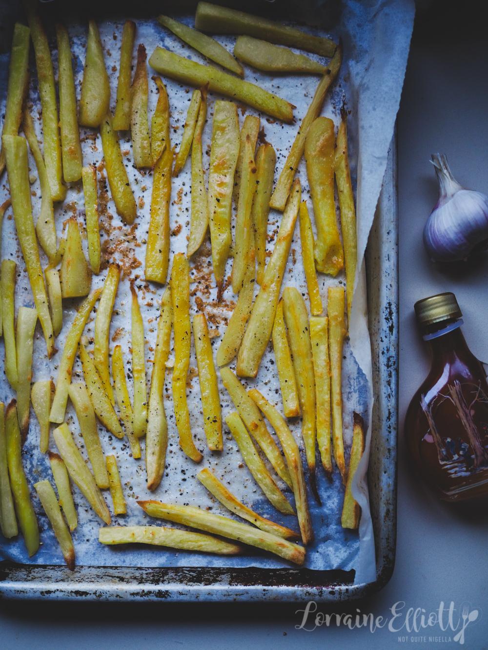 Maple Garlic Butter Parsnips