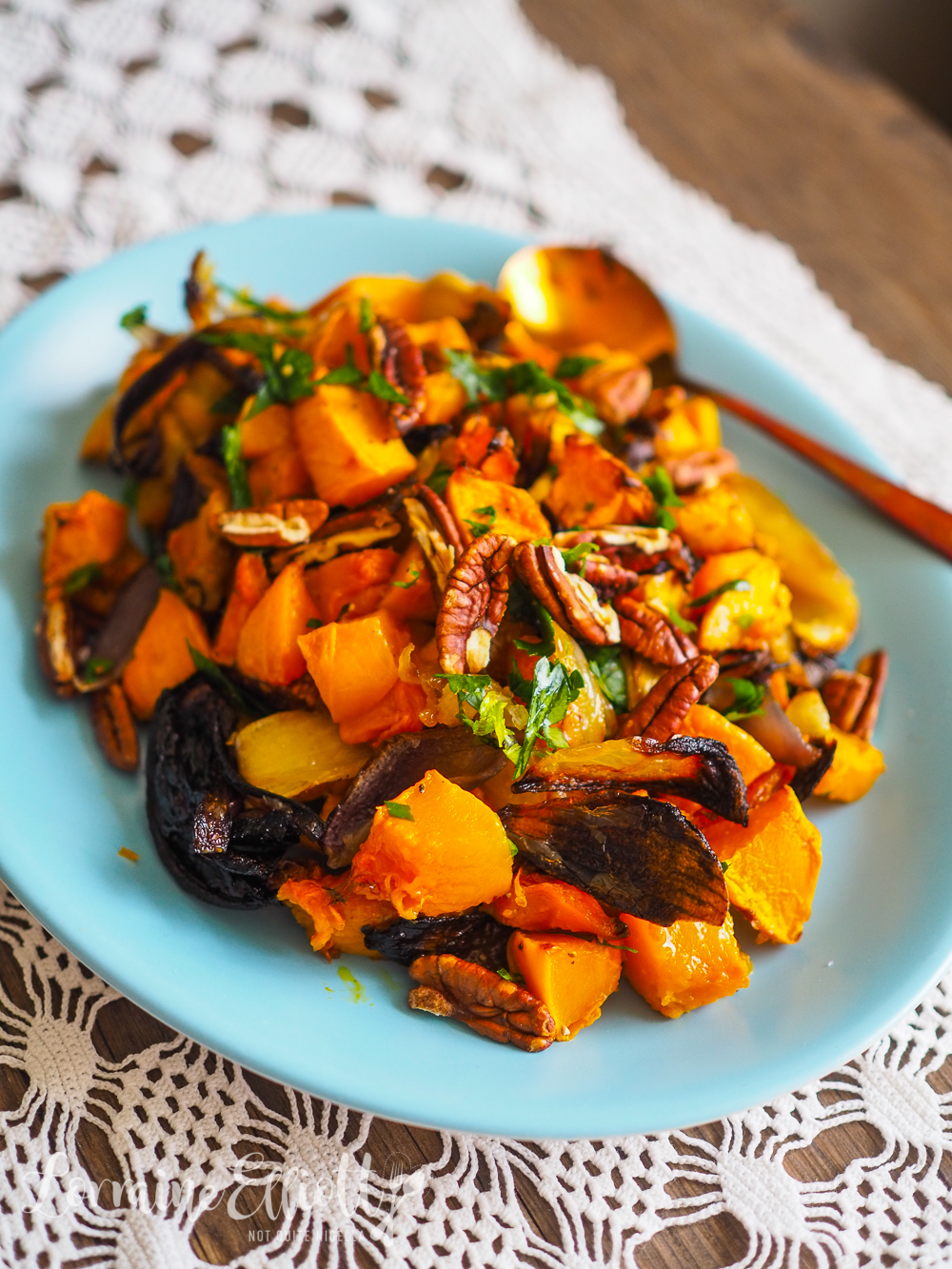 Roasted Caramelised Pumpkin With Pecans Vegan