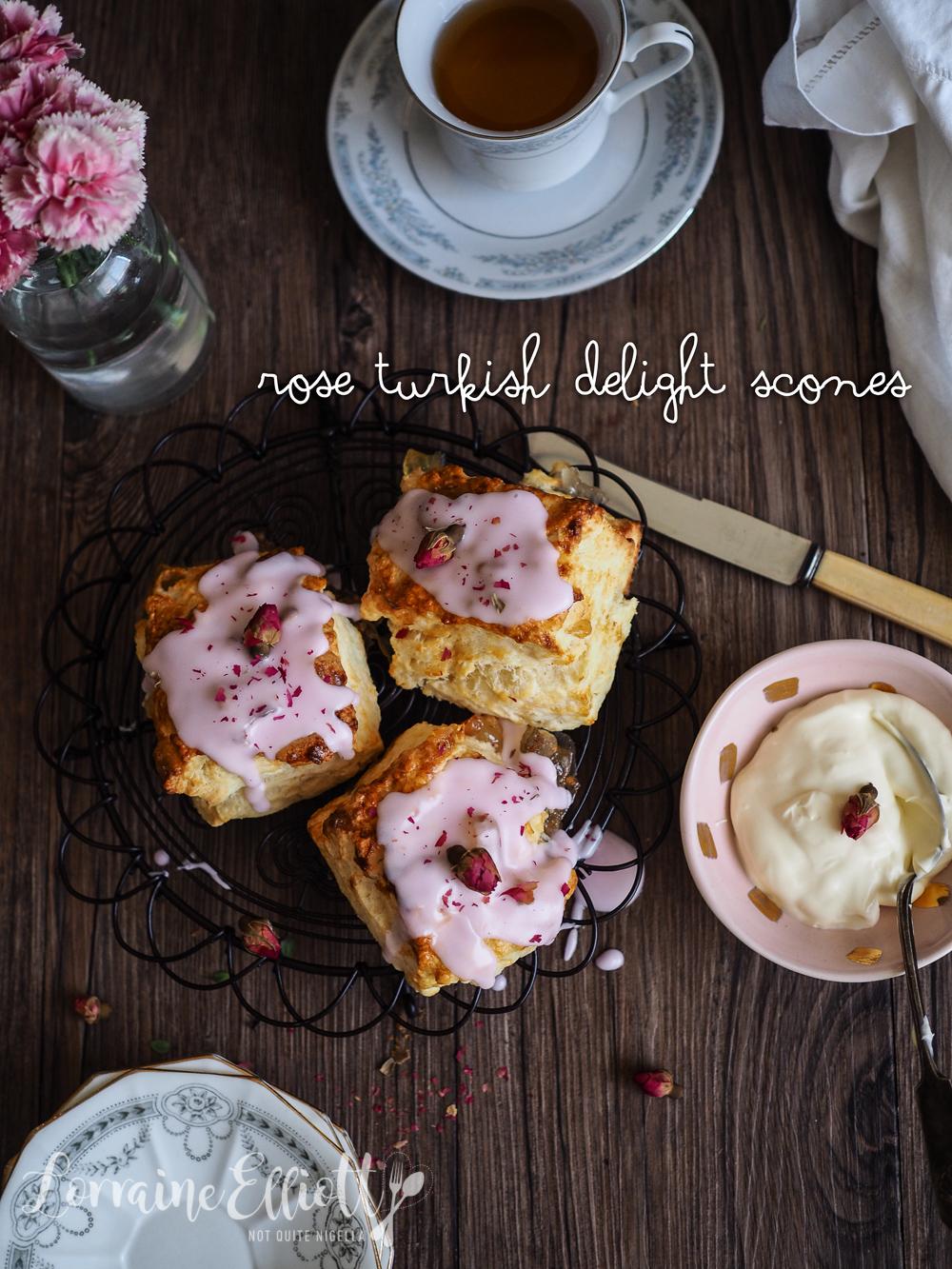 Rose Turkish Delight Scones