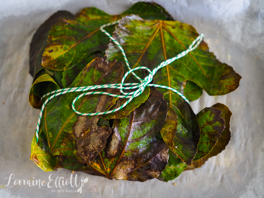 Salmon Baked in Fig Leaves