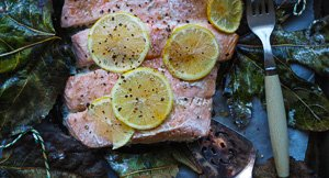Go Fig-Ure! Salmon Baked in Fig Leaves