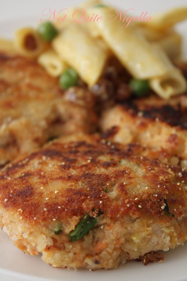 Salmon Cakes and Coronation Pasta Salad