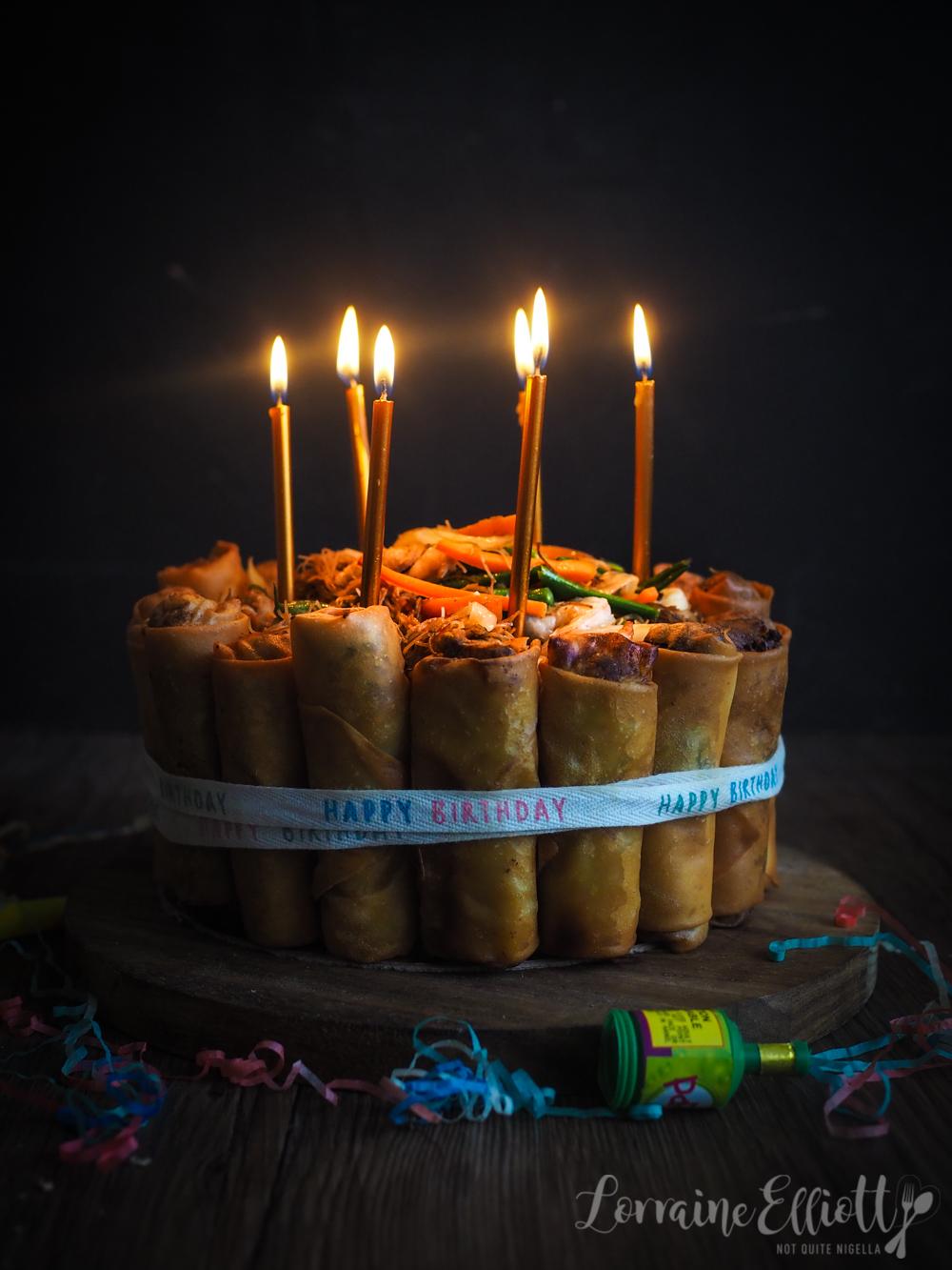 Pancit Lumpia Savoury Birthday Cake With Spring Rolls & Noodles