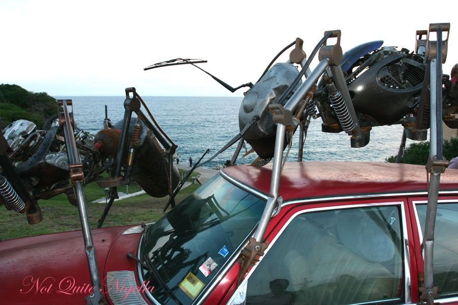 Sculpture by the sea Ants on car