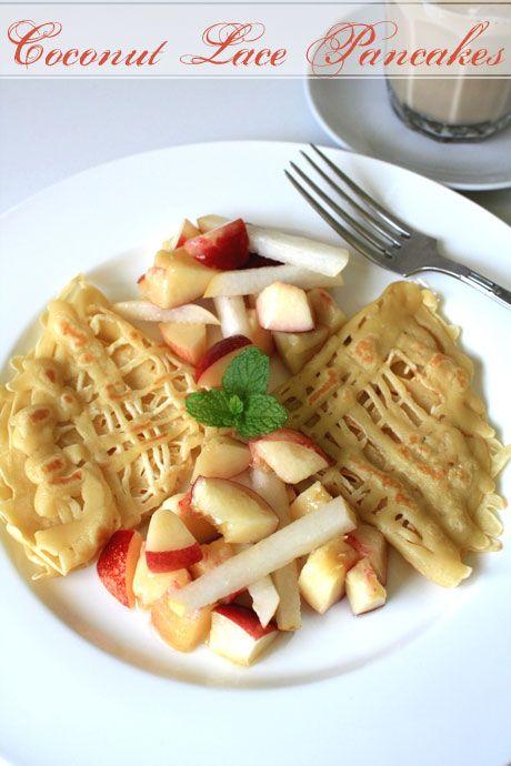 coconut lace pancakes white nectarines nashi