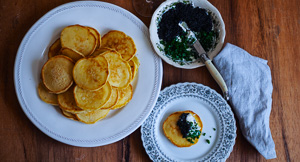 Entertain Me! Cultured Sour Cream Blinis With Caviar and Chives