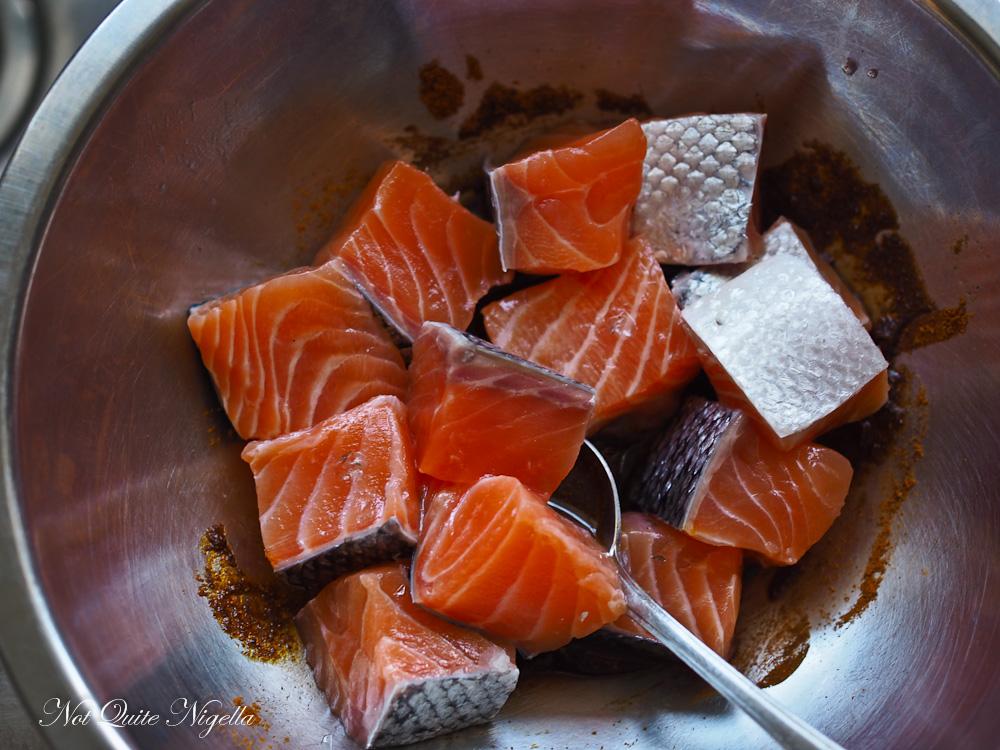 Salmon Ras el Hanout Okra
