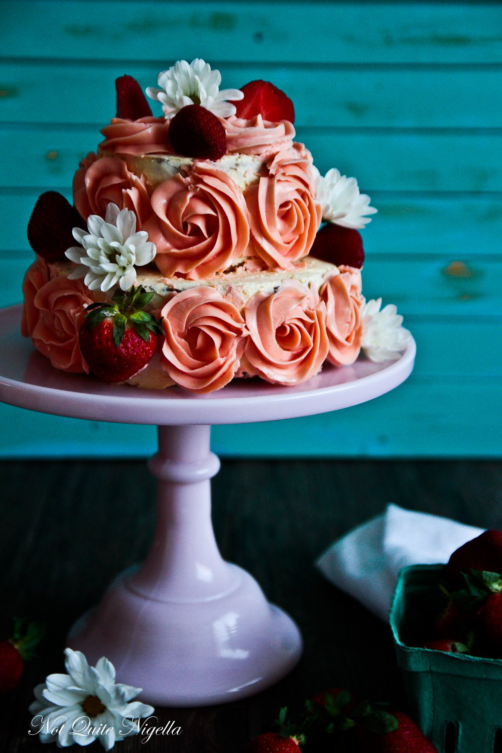 Strawberry Cake With Buttercream Roses Not Quite Nigella