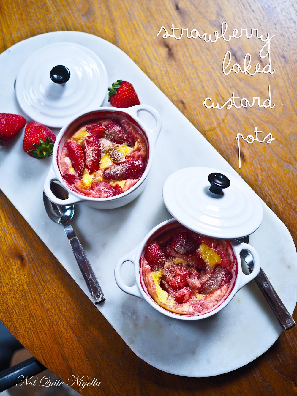 Baked Strawberry Custard pots