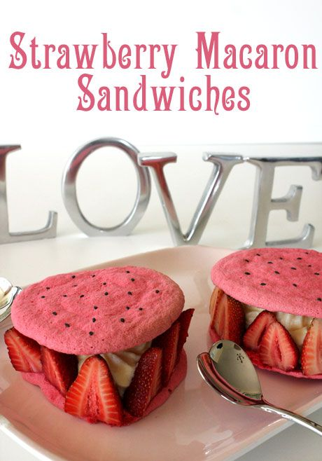 Strawberry Macaron Sandwiches