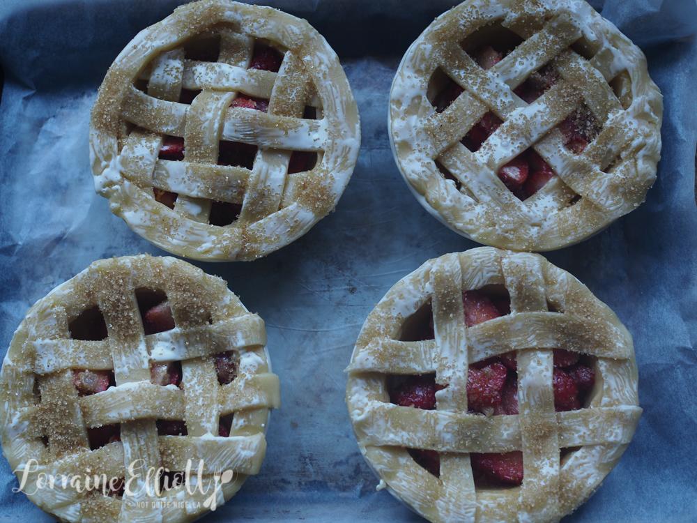 Strawberry Orange Sherbet Lattice Pies