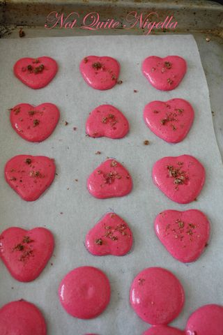 Strawberry & Pink Peppercorn Heart Macarons for Valentines Day