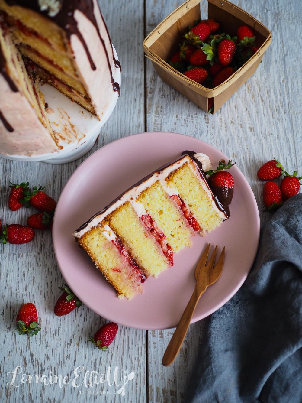 Strawberry White Chocolate Mud Cake