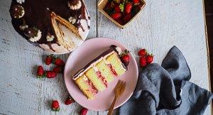 Blushing Beauty! Strawberry White Chocolate Mud Cake