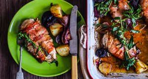 Prosciutto Wrapped Chicken Breasts Stuffed With Cheese