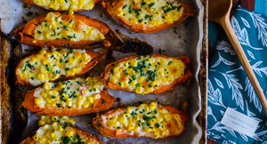 Getting Stuffed! Creamed Corn Stuffed Sweet Potato Skins