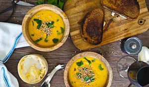 Sweet Potato, Leek & Coconut Soup With Puffed Quinoa