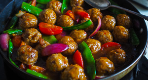Chinese Sweet & Sour Pork Meatballs With Ginger Rice