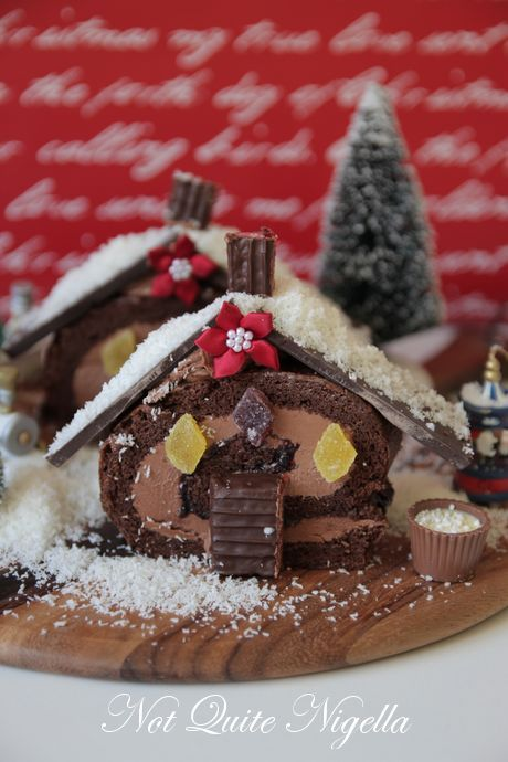 swiss roll christmas cottage cake