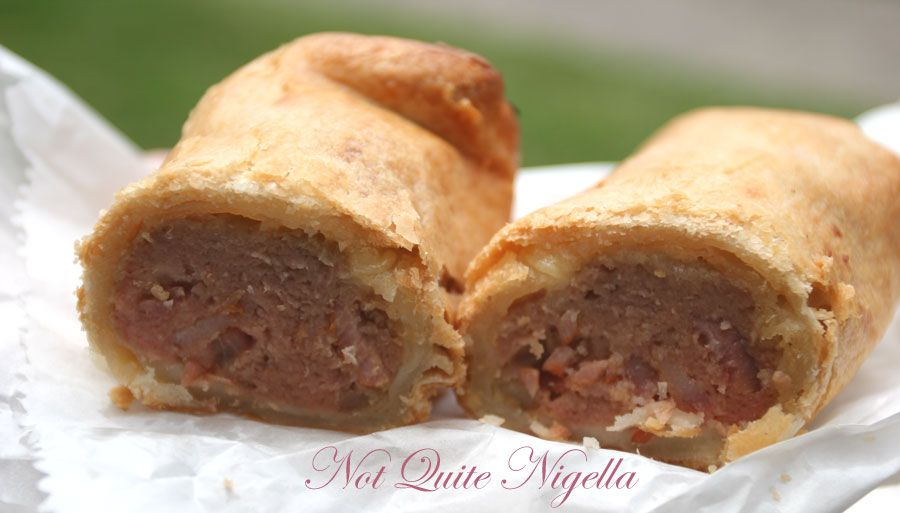 Sylvia and Fran's The Upper Crust Pies Cheese bacon sausage roll