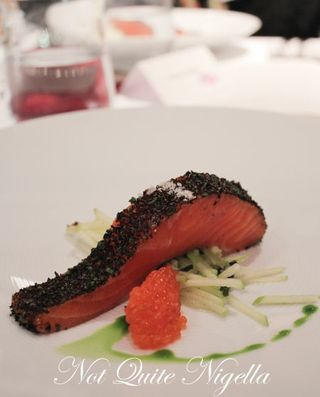 Confit Petuna Ocean Trout with Konbu, Celery and Apple