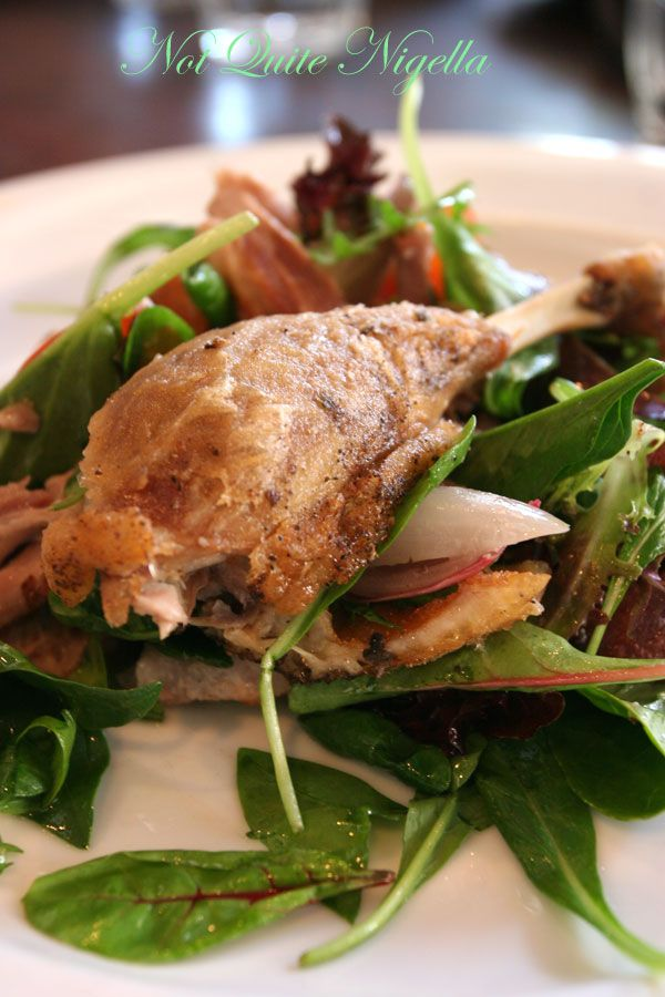 The Book Kitchen, Surry Hills Crispy duck salad, roast peaches, pink peppercorn, and a red wine vinaigrette