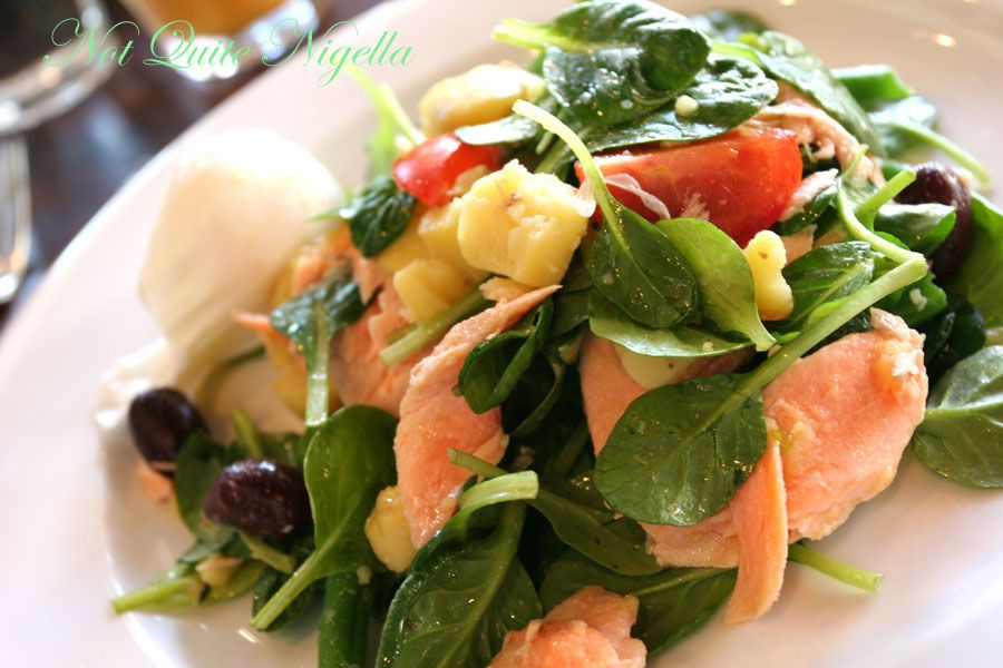 The Book Kitchen, Surry Hills Poached Petuna ocean trout, baby tatsoi, kipfler potatoes, olives, poached egg, herbs, olive oil