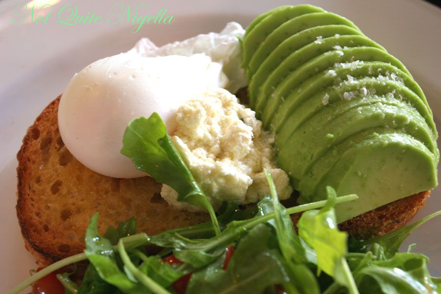 The Book Kitchen, Surry Hills Avocado, sour toast, Persian feta, poached egg, rocket, and lemon infused olive oil