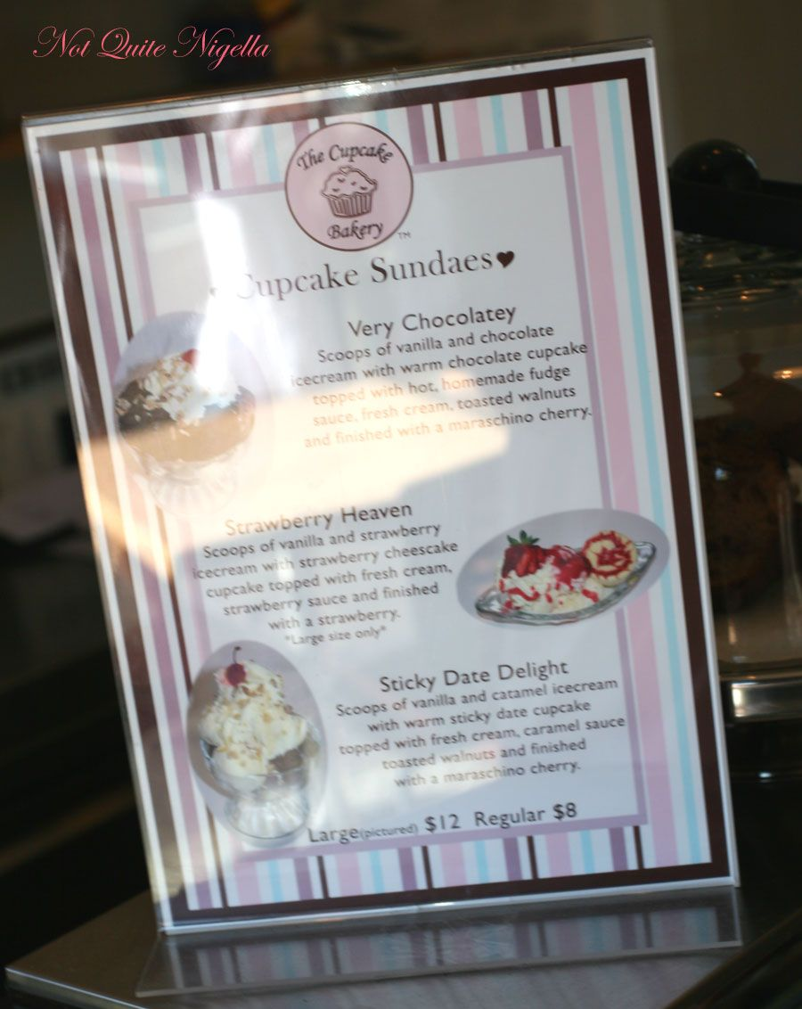 The Cupcake Bakery at Paddington Sundae Menu