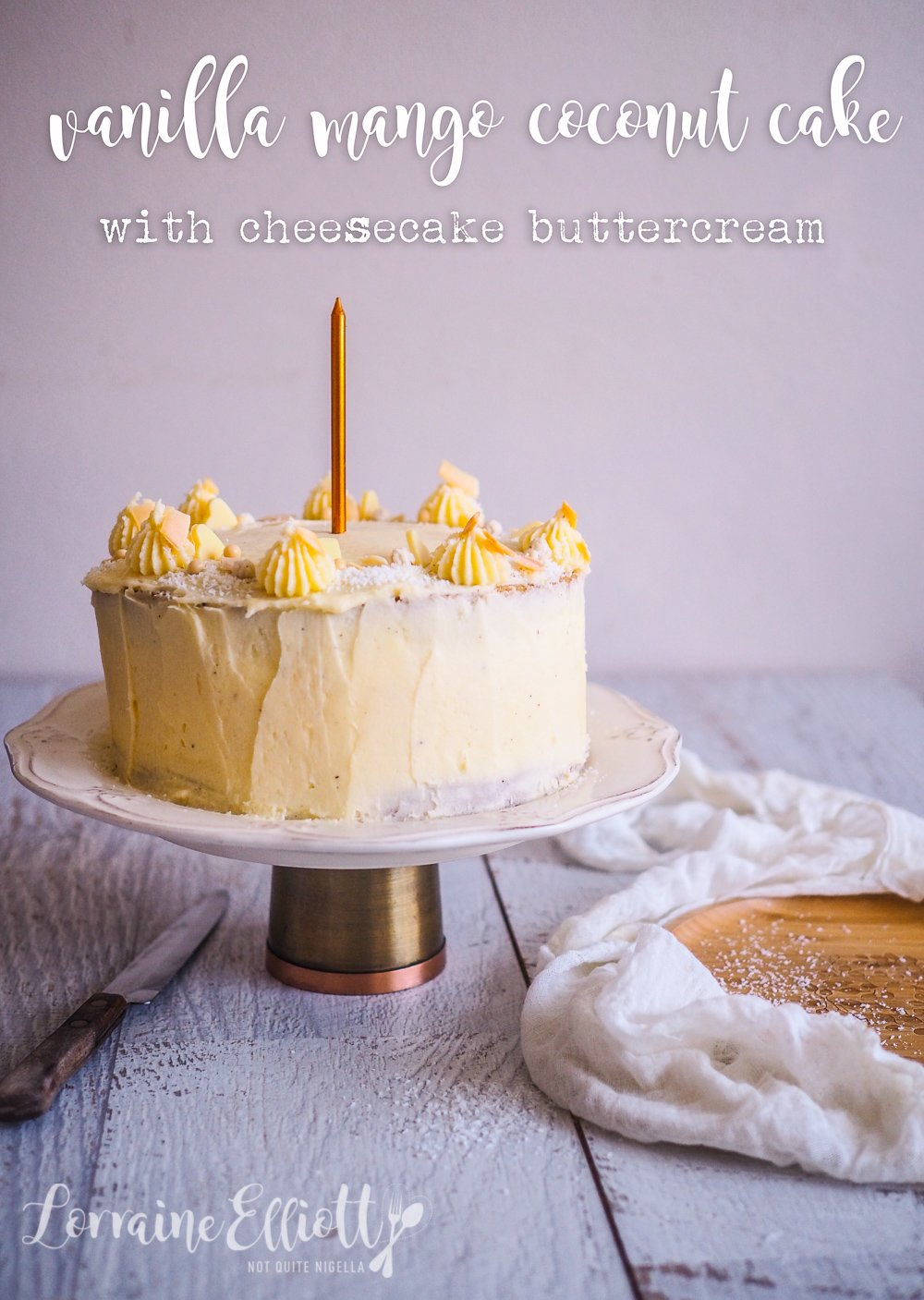 Superb Mango Vanilla Coconut Layer Cake With Cheesecake Buttercream Funny Birthday Cards Online Alyptdamsfinfo