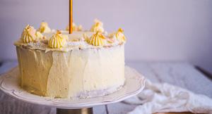 Mango, Vanilla & Coconut Layer Cake With Cheesecake Buttercream!