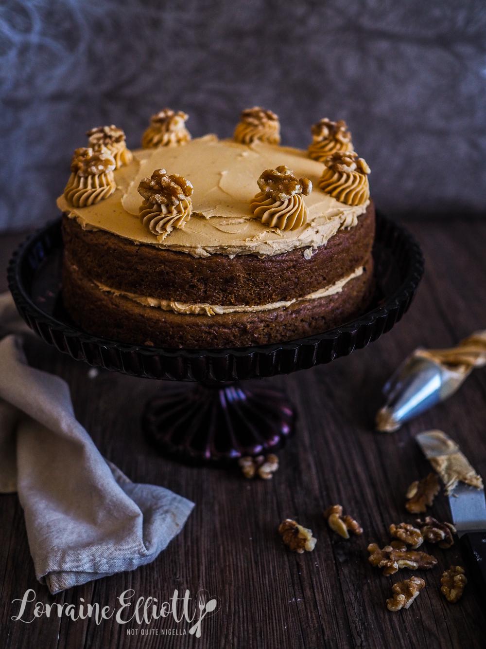 Vegan Coffee Walnut Sponge Cake