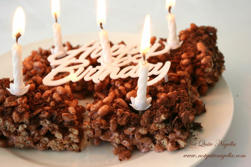 Marshmallow Crispy Squares Happy Birthday