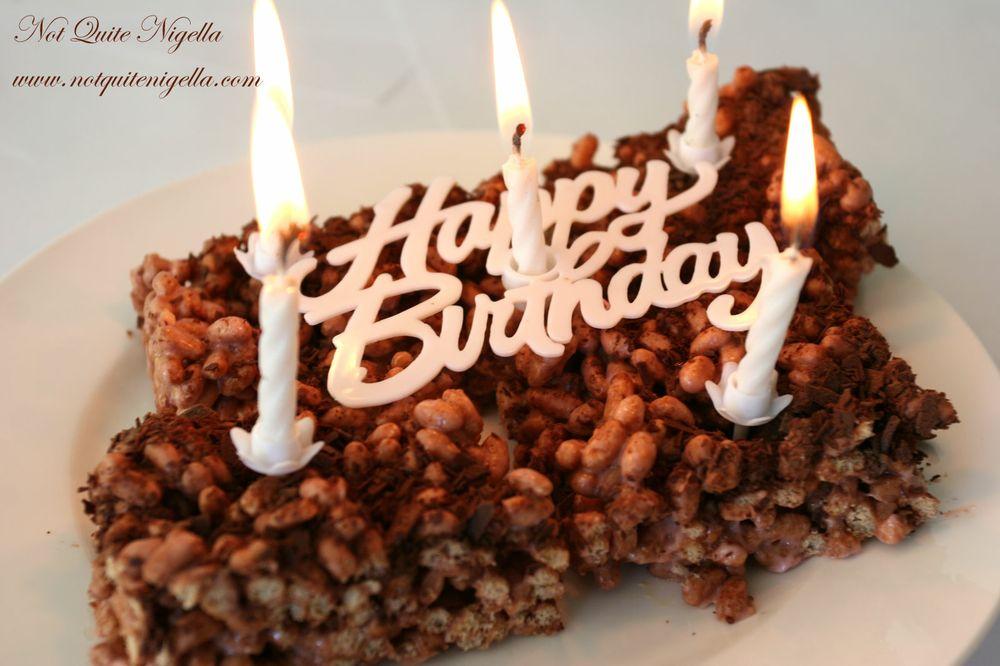 Marshmallow Crispy Squares Happy Birthday