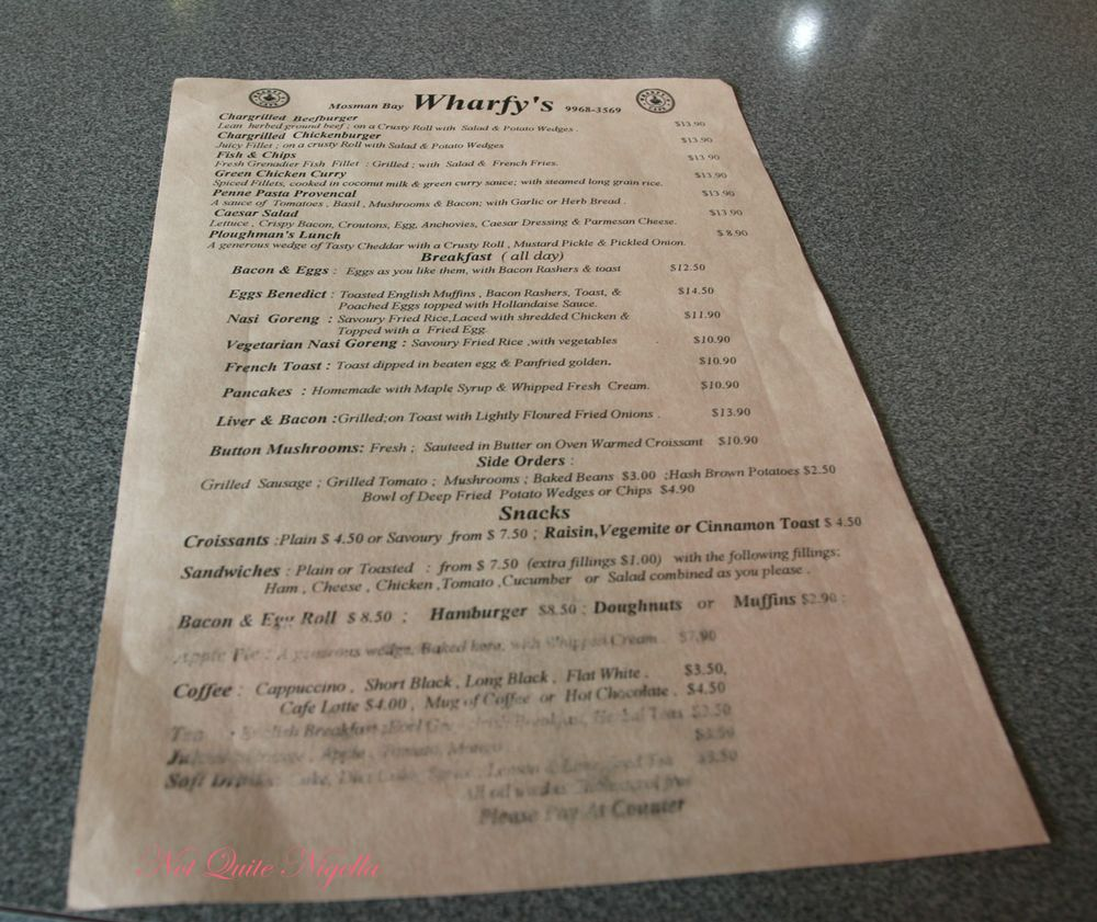 Wharfys at Mosman Menu