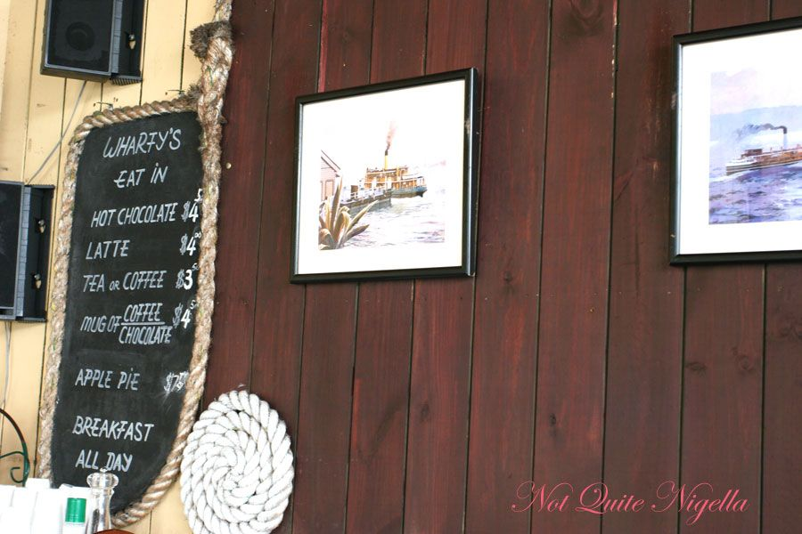 Wharfys at Mosman Wall with menu