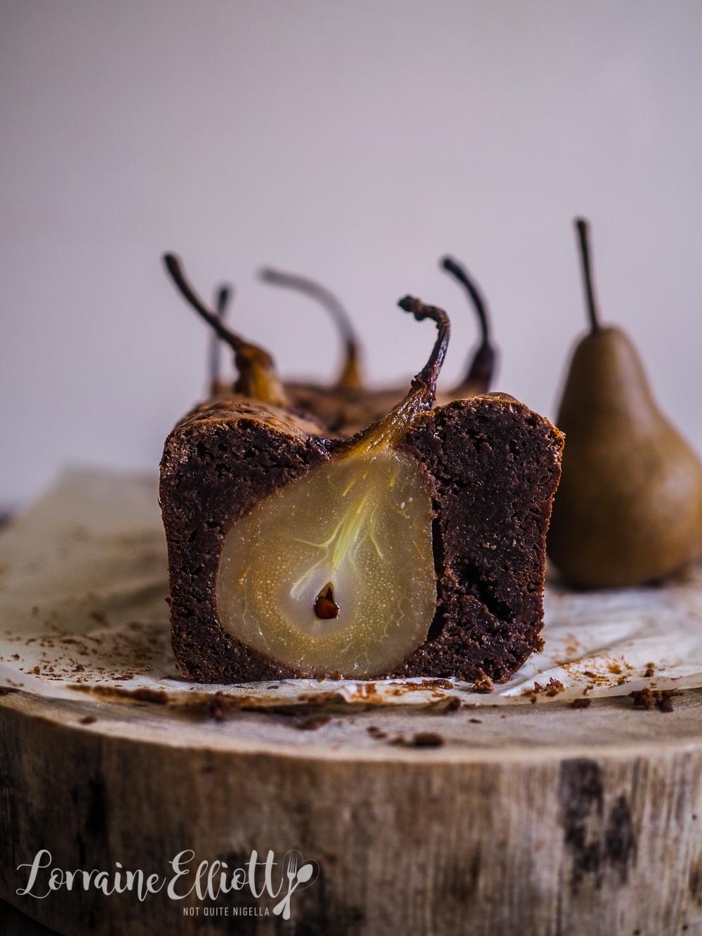 Whole Pear Chocolate Cake