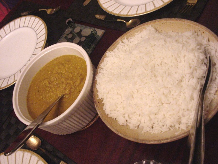 Worldwide Food Night-India Dahl and rice