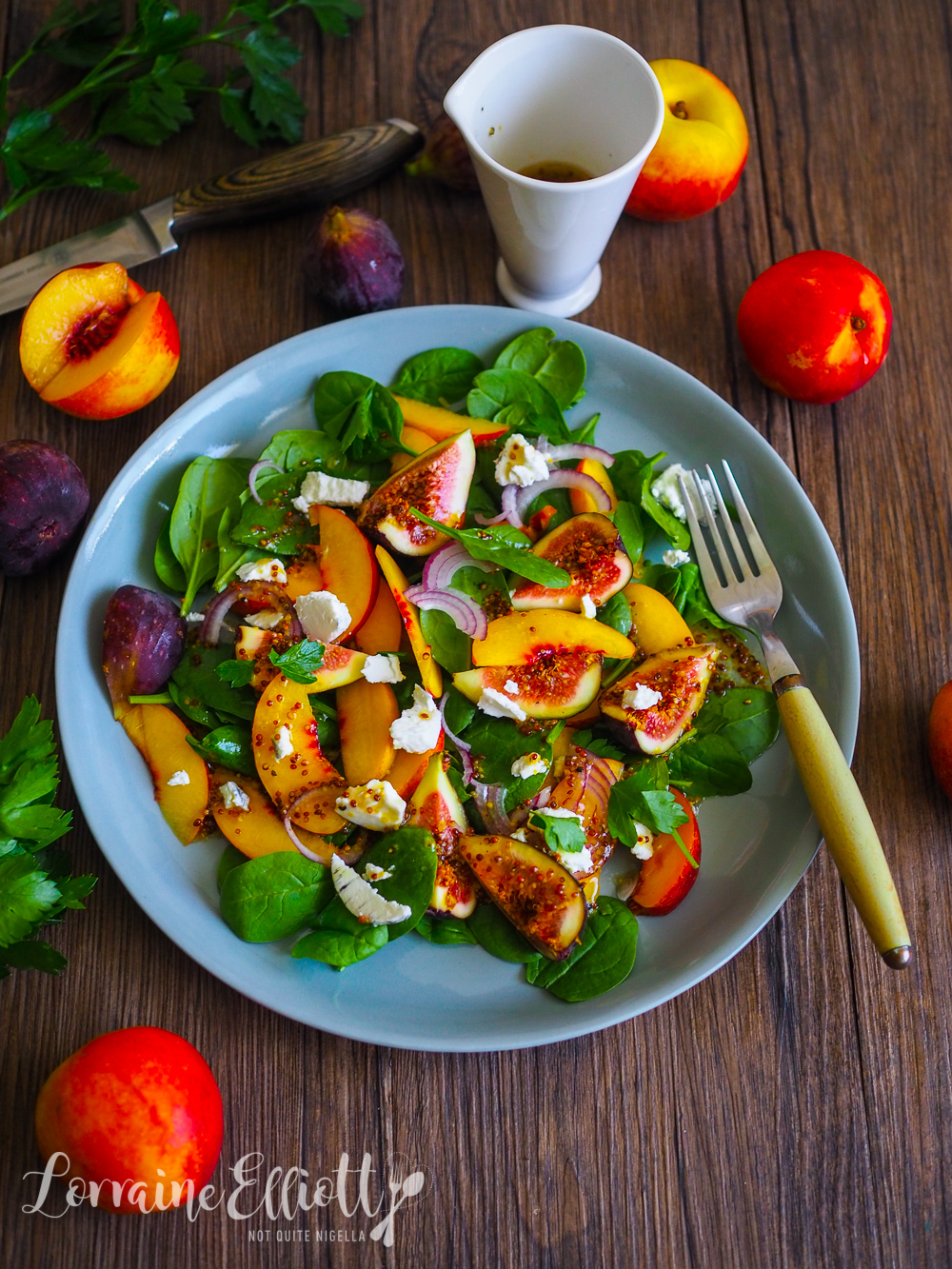 Yellow Peach, Fig & Goat's Cheese Salad