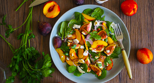 Practice What You Peach - Yellow Peach, Fig & Goat's Cheese Salad