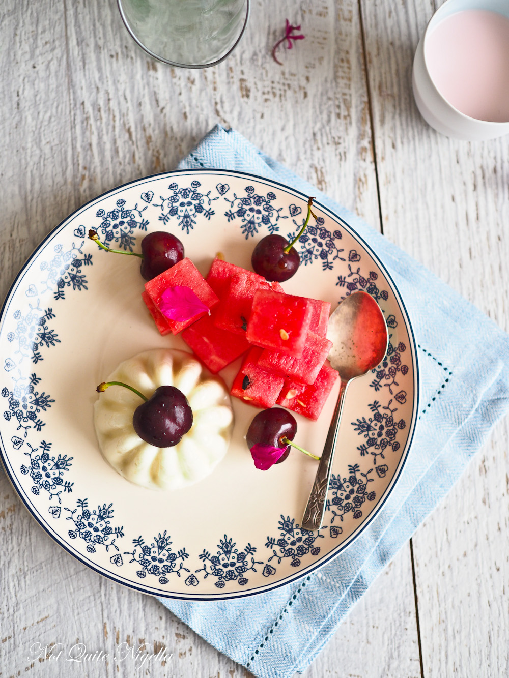 Yogurt Panna Cotta Watermelon & Rose